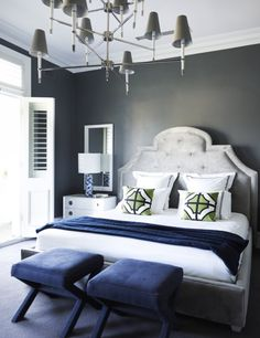Living Room:Modern Master Bedroom Design Blue Bedroom Chair Gray Wall Paint Beautiful Pendant Lamp Gray Bedroom Rug Double White Chest Of Drawer With Table Lamp White The Reminiscent of Baroque in Greg Natale's Residential Project Grey Bedroom Design, White Bedroom, Modern Bedroom, Blue Gray Bedroom, Serene Bedroom, Pretty Bedroom, Large Bedroom, Bedroom Designs, Elle Decor