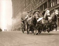 "calumet412: "" One of the city's last horse-drawn fire trucks on an alarm call, 1920, Chicago. """