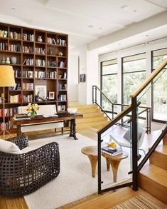 See inside an Austin home with modern yet ultra-inviting living spaces Home Office, House Design, Interior Design, Home, Interior, Living Spaces, Home Library Design, Modern House, Home Decor