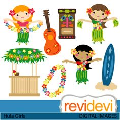 Hula girls cliparts. Luau party with dancing girls, guitar, tiki bar, and more. These   digital images are  great for any craft and creative   projects.