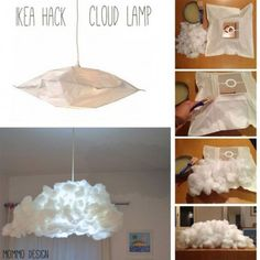 Cloud lampshade from Ikea Varmluft (Ikea Diy Ideas) Diy Luminaire, Diy Lampe, Cloud Lampshade, Diy Cloud Lamp, Wall Cloud, Cloud Lights, Diy Cloud Light, Glow Cloud, Diy Light