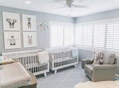 66 unique nursery room ideas for baby twins 16 Twin Baby Rooms, Baby Bedroom, Twin Nurseries, Neutral Nurseries, Twin Cribs, Bedroom For Twins, Room Baby, Bedroom Kids, Boy Room