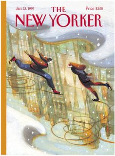 "The New Yorker - Monday, January 13, 1997 - Issue # 3736 - Vol. 72 - N° 42 - Cover ""City Skate"" by Lorenzo Mattotti"