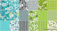 """Mimosa 10"""" Squares - Another Point of View - Windham Fabrics Turquoise, Lime Green and Gray Quilting Fabric"""