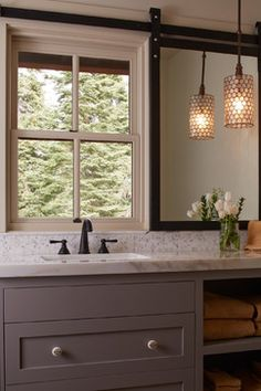 Move Sink Under Window Have Built In Vanity Shelves To Side Of That Is Normally Covered By Mirror Except When Privacy Needed Barn Door