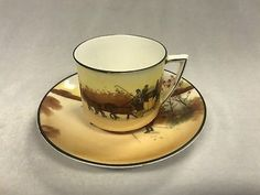 "Vintage Royal Doulton English Porcelain Cup And Saucer ""Coaching Days"""