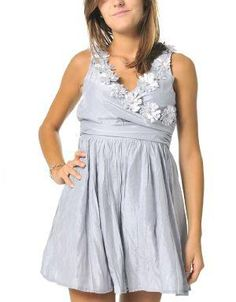 (CLICK IMAGE TWICE FOR DETAILS AND PRICING) Garden Party Cocktail Dress Light Silver Accessorize this lady like garden dress with a statement ring and bangles Featuring rhinestone appliqu� flowers, a surplice bodice and pleated skirt. See More Party Dress at http://www.ourgreatshop.com/Party-Dress-C79.aspx