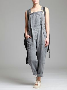 AGED LINEN JUMPSUIT - JACKETS, JUMPSUITS, DRESSES, TROUSERS, SKIRTS, JERSEY, KNITWEAR, ACCESORIES - Woman -