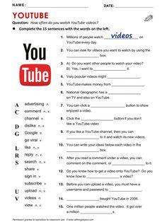 YouTube, English, Learning English, Vocabulary, ESL, English Phrases, http://www.allthingstopics.com/youtube.html