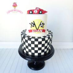 Race car first birthday cake