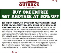 graphic relating to Outback Coupons $10 Off Printable identified as 14 Suitable Outback Coupon codes pictures in just 2013 Outback steakhouse