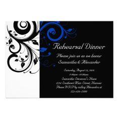 Black/White/Cobalt Blue Bold Swirl Wedding Personalized Announcement