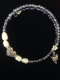 Purple and freshwater Pearl Heart wraparound by AllaLunaDesign