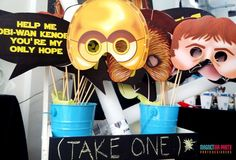 Photo booth props at a Star Wars birthday party! See more party ideas at CatchMyParty.com!