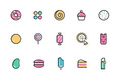 A set of 15 sugar—coated icons, specially crafted for an online LGBT community portal called Sticky. Each of the icons represent a rank which users can obtain as they level up through various activities performed on the site.