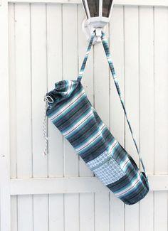 Yogamat Bag aqua stripes with outside zip bag cool by Sunchildsews Shops, Yoga Mat Bag, Austria, Cool Stuff, Stuff To Buy, The Outsiders, Cotton Fabric, Aqua, Buy And Sell