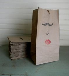 Brown Paper Wedding Favor Bags With Mustache and Lips Design - Do with white bags for cookie table