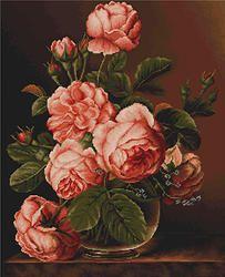 B488 Jarrón de rosas €49.00  Kit completo de punto de cruz Marca: Luca-S Hilos: Anchor Tela Aida: Zweigart Medidas: 34*43cm Colores: 40