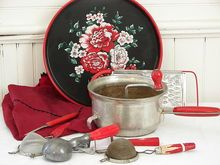 Vintage Red Handle Kitchen Ware Utensil Collection---Mary, you will like this!