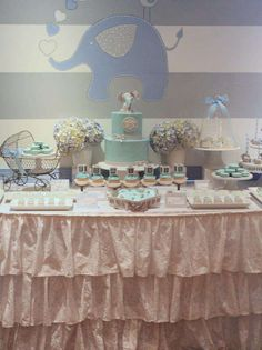 Pretty dessert table at an elephant baby shower party! See more party ideas at CatchMyParty.com!