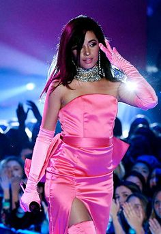 Camila Cabello performs onstage during the 2018 iHeartRadio Music Awards at The Forum on March 2018 in Inglewood, California. Havana, Camilla, Cabello Hair, Barbie Model, Female Actresses, Fifth Harmony, Shows, Pink Aesthetic, Sexy Dresses