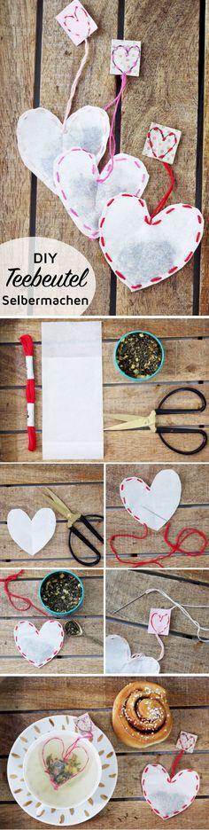 Last Minute Gifts - Teebeutel selber machen: Kreative DIY Geschenkidee Heute mache ich mir meinen T. Diy Presents, Diy Gifts, Diy Christmas Gifts, Xmas, Diy Cadeau, Navidad Diy, 242, How To Make Tea, Last Minute Gifts