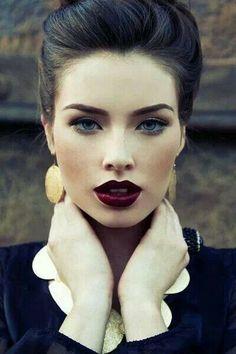 Slightly less dramatic smokey eye with really bold lip - love the lip colour
