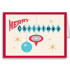 Retro Christmas greeting card featuring 1950s style Christmas tree ornaments in teal and red.