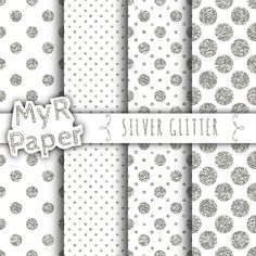 """With Love By MyRpaper #patterns #design #graphic #paperdesign #papercraft #scrapbooking #digitalpapers Silver #Glitter Digital Paper: """"Silver Glitter"""" #White & #Silver, Polka Dots and Glitter, 50% OFF SALE HELLO AND WELCOME TO MY SHOP Myr Paper is a shop full of digital crafti... #glitter #white #wedding #christmas #silver #sparkles"""