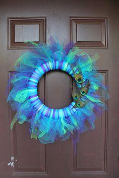 """14 """" Tulle (Tutu) Peacock Wreath $28.00"""