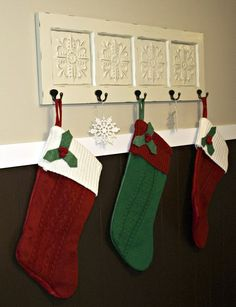 Instead of hammering nails into your walls (or your mantle — eep!), use dedicate a coat track to holding your stockings. This particular one has details that mimic snowflakes, making it especially seasonally appropriate. See more at Low Country Living »   - CountryLiving.com
