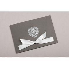 faire part mariage Gris attitude, médaille et ruban ivoire 49335