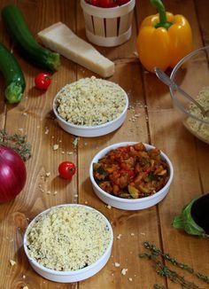 Préparation crumble aux légumes du soleil Summertime, Grains, Food And Drink, Rice, Cooking, Blog, Vegetables, Dishes, Veggie Bake