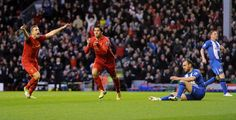 http://@Gina Lunt FC striker Luis Suarez scores his first goal against Wigan Athletic at Anfield http://#LFC http://#Suarez
