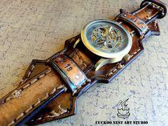 Personalized Leather Watch cuff Handstamped от CuckooNestArtStudio