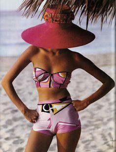 Flowers  Vogue Italia june 1992  Helena Christensen by Walter Chin