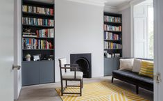 Dark grey modern alcove shelves in a traditional Victorian living room Alcove Storage Living Room, Living Room Cupboards, Bedroom Alcove, Alcove Shelving, Alcove Cupboards, Home Decor Bedroom, Bedroom Kids, Living Room Alcove Designs, Ceiling Shelves
