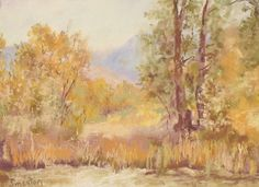 """7. Autumn Marsh Study Soft Pastel Art Landscape. This landscape painting is an ariel painting because the focus is mainly in the """"front"""" of the painting. The objects in the back of the painting are shown in a blue fuzzy haze to represent that it is in the background."""