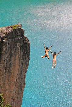 Sometimes you just have to jump off. Im not sure I could ever get myself to do this though...