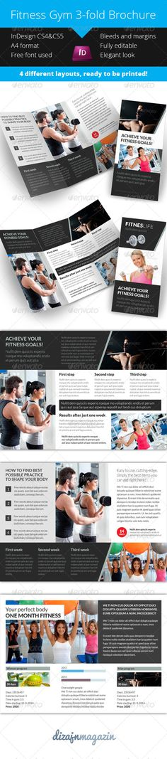 Gym Fitness Tri-Fold Brochure #GraphicRiver Gym Fitness Tri-Fold Brochure InDesign template This is nice and modern looking Gym Fitness Tri-Fold Brochure InDesign template. Nice and clean look with many layout options. 5 different page designs included. If you dont like my colors you can change them very easily. FEATURES InDesign CS4, CS5 & CS6 template 5 different layouts included CMYK – Print ready Guides Bleeds and margins Free elegant font used INCLUDED FILES InDesign CS4 InDesign CS5…