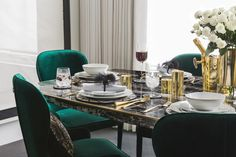 Art Deco design was made for the dining room. With cool geometrics and glints of gold, the Golden Age trend from A by Amara pays tribute to this popular design era.