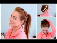 3 Workout Ready Hairstyles + DIY Headband - YouTube