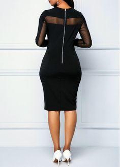 5e0585d7 Zipper Back Long Sleeve Black Sheath Dress | modlily.com - USD $30.26  Church Dresses