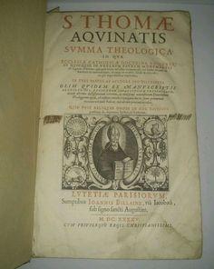 Thomas Aquinas 17th Century SUMMA THEOLOGICA Paris 1645 Folio Engravings Leather