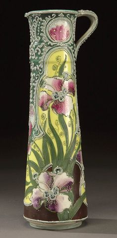 A NIPPON MORIAGE DECORATED PORCELAIN EWER :