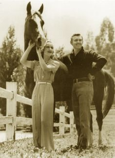 Clark Gable and Carole Lombard with their Saddlebred horse, Sonny