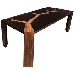 Angkor Wood Dining Table Smoked Oak And Walnut Tree Marquetry By... ($8,359) ❤ liked on Polyvore featuring home, furniture, tables, dining tables, dining room tables, multiple, wood table, inlaid wood dining table, timber dining tables and inlaid wood table