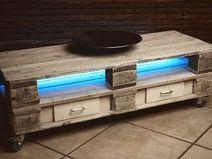 Sideboard mit LED Beleuchtung Europaletten weiß