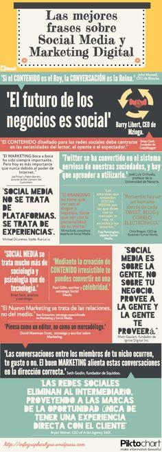Las mejores frases sobre Redes Sociales y Marketing Digital #infografia #infographic #socialmedia #citas
