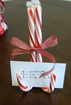 Candy Cane Christmas Crafts For Kids, Candy Cane Placecard Holder, candy cane Christmas ornaments for 2013